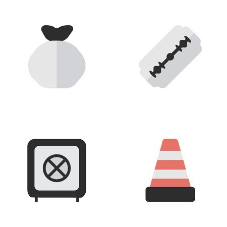 Elements Moneybox, Blade, Vault And Other Synoniemen Warning, Shaver And Bag. Vectorillustratiereeks Eenvoudige Misdadige Pictogrammen.