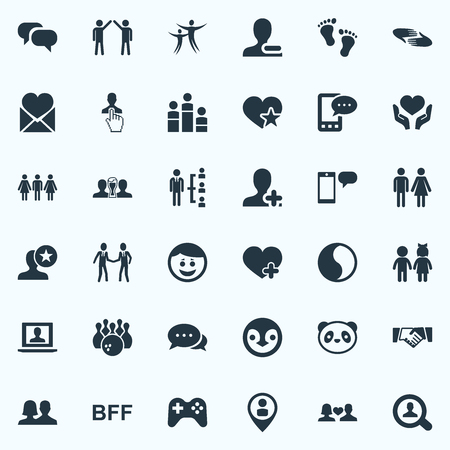 Elements Talk, Profile, Winner And Other Synonyms Partnership, Talk And Star.  Vector Illustration Set Of Simple Fellows Icons.