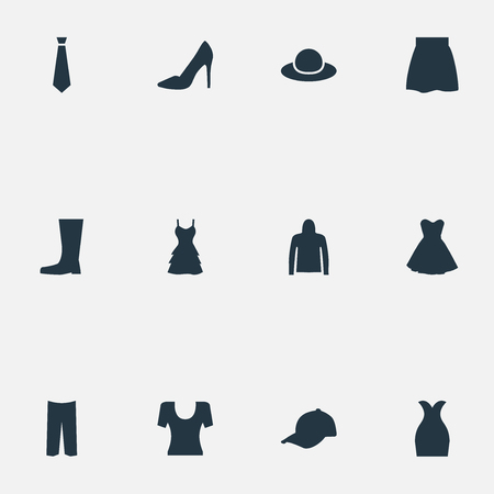벡터 일러스트 레이 션 간단한 의류 아이콘의 집합입니다. 요소 스포츠 모자, 우아한 모자, 치마 및 기타 동의어 바지, 남성 및 바지.