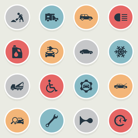 Vector Illustration Set Of Simple Automobile Icons. Elements Fuel, Watch, Hoisting Machine And Other Synonyms Oil, Snowflake And Spanner.