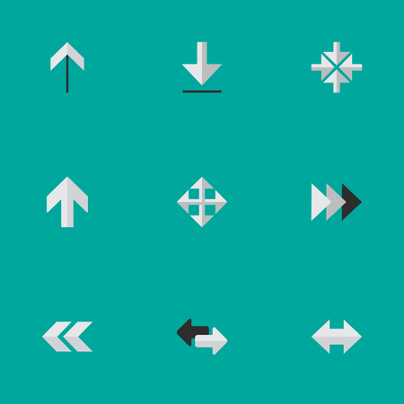 Vector Illustration Set Of Simple Cursor Icons. Elements Onward, Upwards, Import And Other Synonyms Rearward, Widen And Inside.