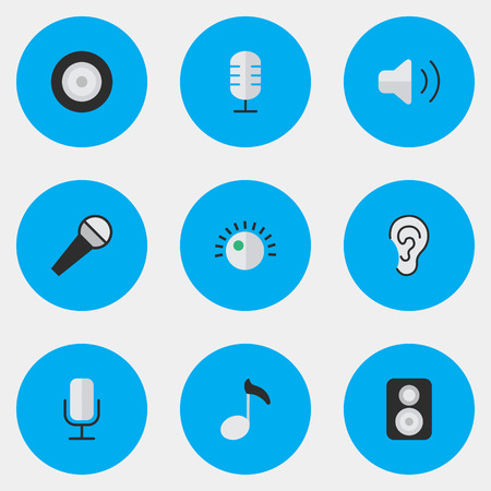 Vector Illustration Set Of Simple Melody Icons. Elements Loudness, Regulator. Illustration
