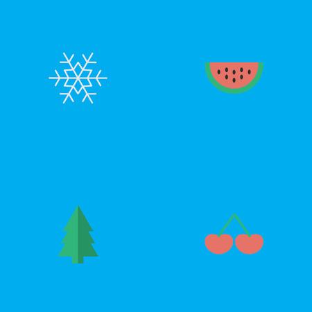 簡単な園芸アイコンのベクター イラスト セット。要素メロン、ベリー、ツリーおよび類義語の他の果物では、メロンとスイカ。