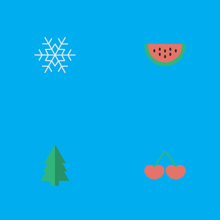 Vector Illustration Set Of Simple Horticulture Icons. Elements Melon, Berry, Tree And Other Synonyms Fruit, Melon And Watermelon.