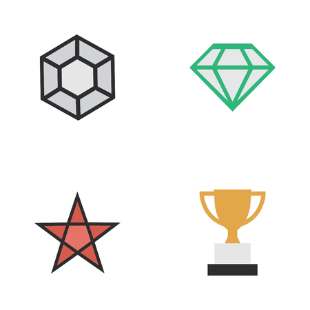 Vector Illustration Set Of Simple Trophy Icons. Elements Goblet, First, Gemstone And Other Synonyms Stone, Precious And Trophy.