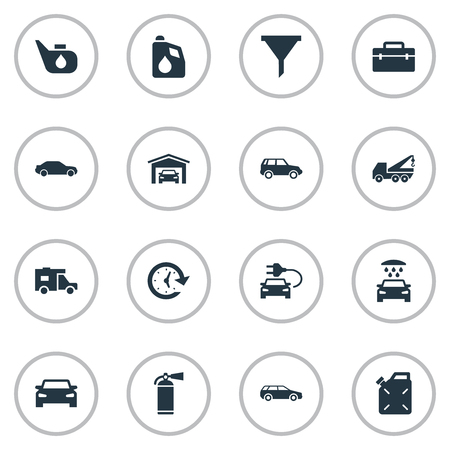 Vector Illustration Set Of Simple Vehicle Icons. Elements Hatchback, Hoisting Machine, Electro Car And Other Synonyms Oil. Illustration
