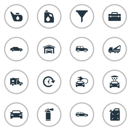 Vector illustratie Set van eenvoudige voertuig pictogrammen. Elementen Hatchback, Hijswerktuig, Electro Car en andere synoniemenolie. Stock Illustratie