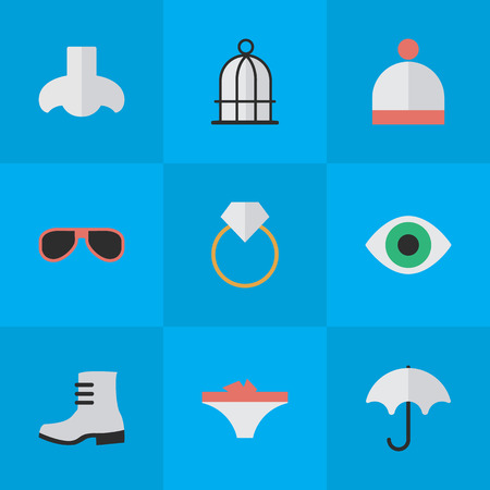Elements Boot, Sunglasses, Wool Wear And Other Synonyms Vision, Sunglasses And Boot.  Vector Illustration Set Of Simple Accessories Icons. 向量圖像