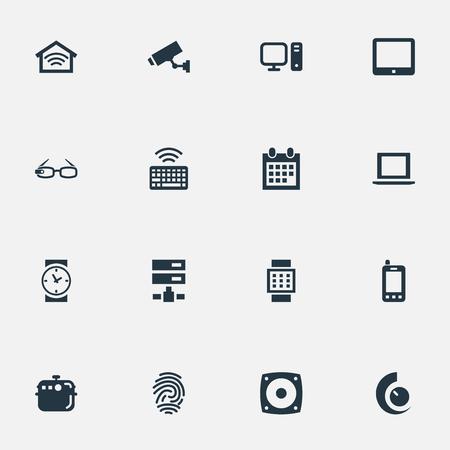 벡터 일러스트 레이 션 간단한 웹 아이콘의 집합입니다. 요소 확성기, 감시, 전기 스토브 및 기타 동의어 안경, 스토브 및 키패드. 일러스트