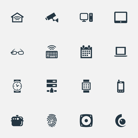 Vector Illustration Set Of Simple Web Icons. Elements Loudspeaker, Surveillance, Electric Stove And Other Synonyms Eyeglasses, Stove And Keypad.