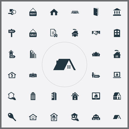 Elements Lock, Real Estate Database, Insurance And Other Synonyms Laptop, Advertising And Broker.  Vector Illustration Set Of Simple Estate Icons.