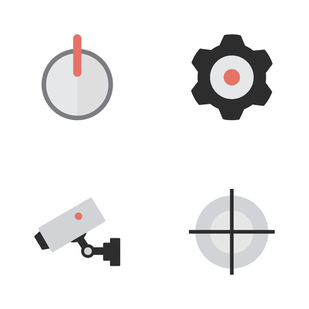 Elements Cogwheel, Supervision, Safe And Other Synonyms Password, Lock And Cogwheel.  Vector Illustration Set Of Simple Criminal Icons. Ilustração