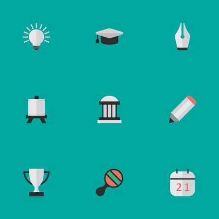 要素のゴブレット、ペン先、イーゼル、他類義語ラケット選手権と電球。 単純な知識アイコンのベクター イラスト セット。