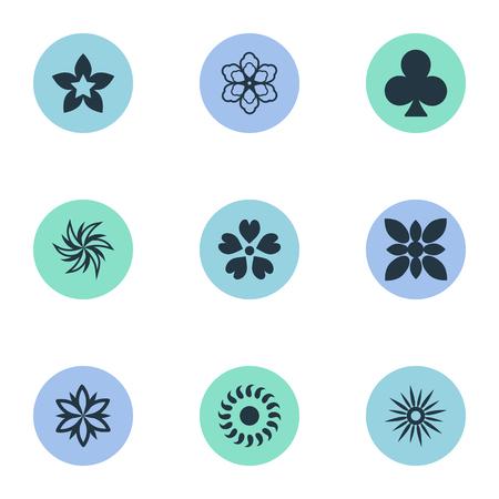 要素朝顔、ガーベラ、月桂樹、他の同義語サイプレス ジョンキルと葉。 単純な花のアイコンのベクトル イラスト セット。