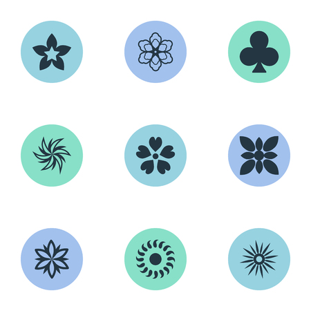 jonquil: Elements Morning Glory, Gerberas, Laurel And Other Synonyms Cypress, Jonquil And Leaf.  Vector Illustration Set Of Simple Flower Icons.