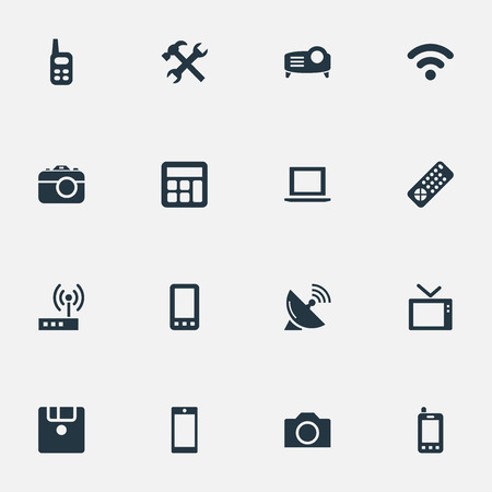 Elements Smartphone, Photographing, Wireless Connection And Other Synonyms Floppy, Contact And Photo.  Vector Illustration Set Of Simple Technology Icons. 向量圖像