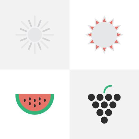 Elementen Wijn, zon, meloen en andere synoniemenmeloen, zonnig en wijn. Vectorillustratiereeks Eenvoudige Tuinpictogrammen.