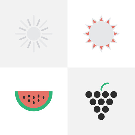 Elements Wine, Sun, Melon And Other Synonyms Melon, Sunny And Wine.  Vector Illustration Set Of Simple Garden Icons.