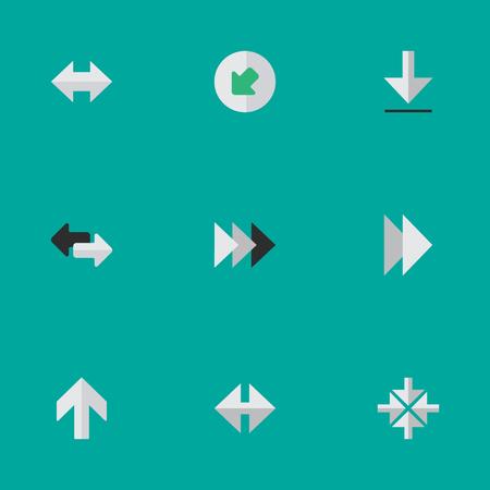 성분 전방, 안쪽, 수입품 및 다른 동의어 상향, 북서 및 다음. 벡터 일러스트 레이 션 간단한 포인터 아이콘의 집합입니다.