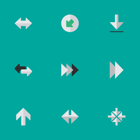 declining: Elements Onward, Inside, Import And Other Synonyms Upward, Northwestward And Next.  Vector Illustration Set Of Simple Pointer Icons.