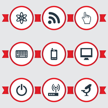 Elements Wireless Connection, Atom, Monitor And Other Synonyms Router, Connection And Monitor.  Vector Illustration Set Of Simple Gadget Icons.