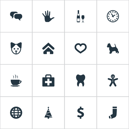 Vector Illustration Set Of Simple Household Icons. Elements Hand, Money, Hosiery Synonyms Ginger. Illustration