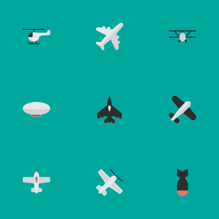 Vector Illustration Set Of Simple Aircraft Icons. Elements Copter, Aviation, Plane And Other Synonyms Chopper. Illustration