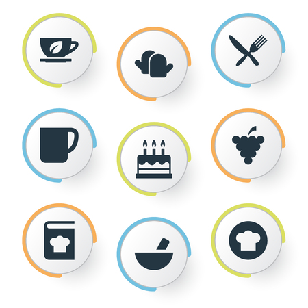 Vector Illustration Set Of Simple Cuisine Icons. Elements Silverware, Pastry.