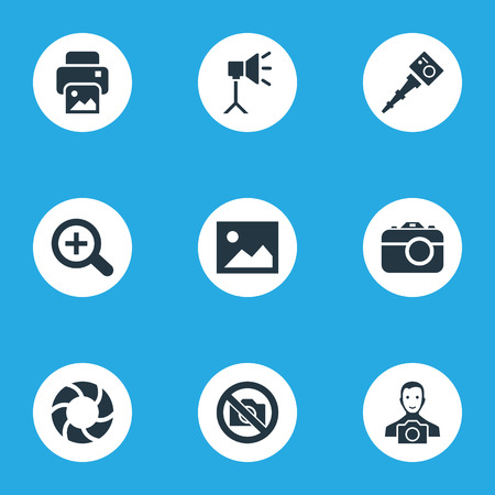 Vector Illustration Set Of Simple Photography Icons. Elements Lens, Movable Camcorder.