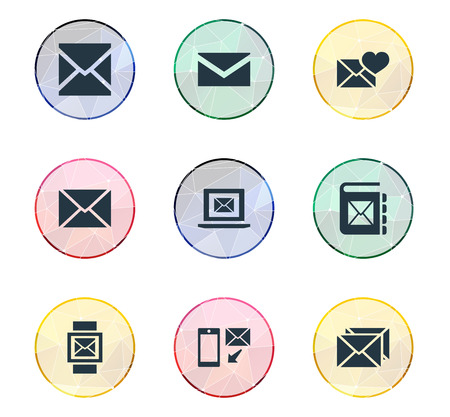 Illustration Set Of Simple Mail Icons. Elements Notepad, Correspondence, Mail With Heart And Other Synonyms Laptop, Valentine And Correspondence. Ilustração
