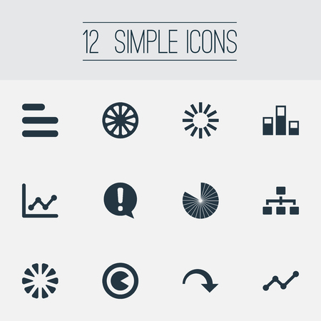 Illustration Set Of Simple Graph Icons. Elements Decline, Hierarchy, Menu And Other Synonyms Strategy, Text And Template.