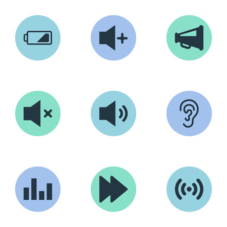 Illustration Set Of Simple Audio Icons. Elements Next, Plus, Player And Other Synonyms Power, Radio And Ear.