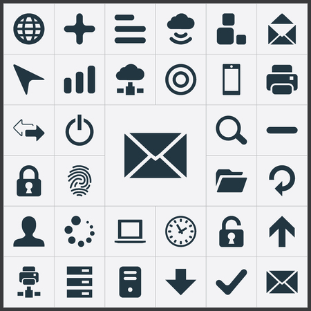 Illustration Set Of Simple Application Icons. Elements Scroll, Magnifier, Down Arrow And Other Synonyms Okay, Target And Minus.