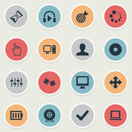 Illustration Set Of Simple Leisure Icons. Elements Hourglass, Gambling, Board And Other Synonyms Desktop, Music And Arrow. Illustration
