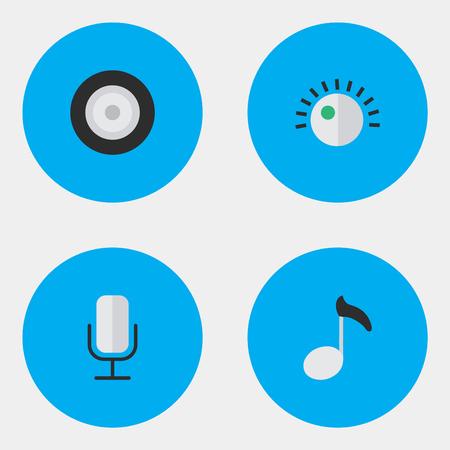 シンプルなアイコンのイラスト セット。要素のスピーカー、メモ、レコード、他の類義語の記録は、署名し、音。