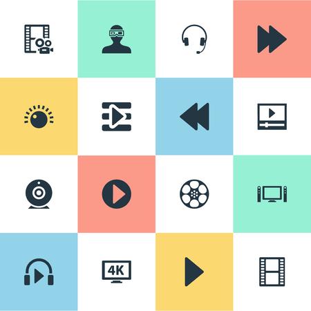 Illustratiereeks Eenvoudige Pictogrammen Van Verschillende media. Elementen afspeellijst, webcam, begin en andere synoniemen entertainment, bioscoop en 4K. Stock Illustratie