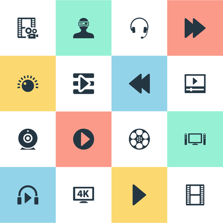 Illustration Set Of Simple Multimedia Icons. Elements Playlist, Web Cam, Begin And Other Synonyms Entertainment, Cinema And 4K. Stok Fotoğraf - 83793248