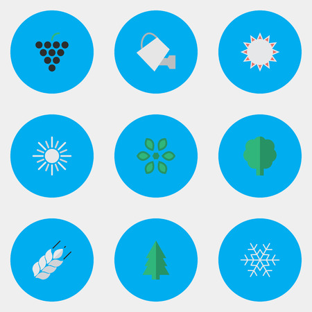 Illustration Set Of Simple Garden Icons. Elements Corn, Blossom, Bailer And Other Synonyms Hot, Flower And Wineglass.