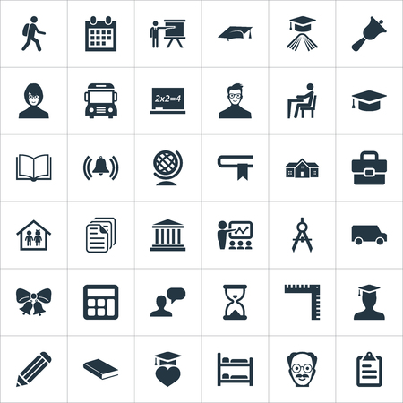 Illustration Set Of Simple School Icons. Elements Tutor, Geometry, Devider And Other Synonyms Undergraduate, Training And University.