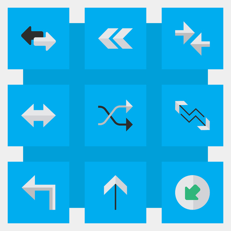 Illustration Set Of Simple Indicator Icons. Elements Everyway, Orientation, Chaotically And Other Synonyms Northwest, Backward And Boom.