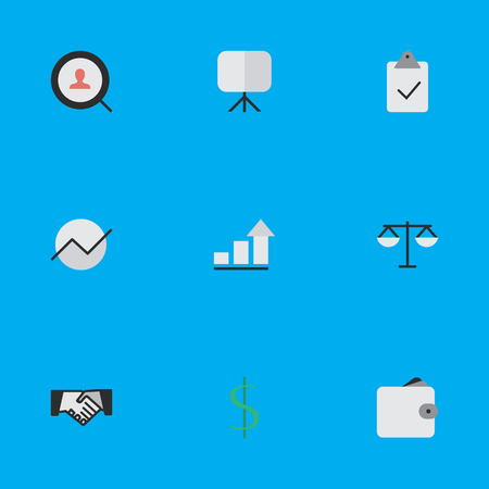 Illustration Set Of Simple Trade Icons. Elements Justice, Magnifier, Purse And Other Synonyms Scales, Handshake And Dollar.