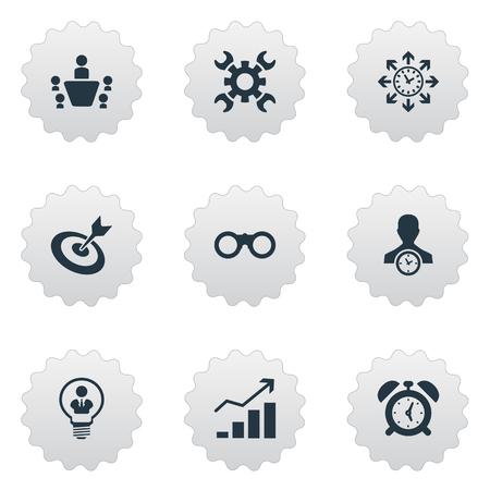 Illustrationssatz einfache Strategie-Ikonen. Elemente erhöhen, Regisseur, Zoom-Brille und andere Synonyme Erfolg, Suche und Umfang. Standard-Bild - 83793415