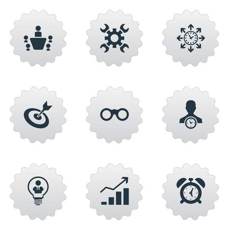 Illustration Set Of Simple Strategy Icons. Elements Increase, Director, Zoom Glasses And Other Synonyms Success, Find And Scope. Illustration