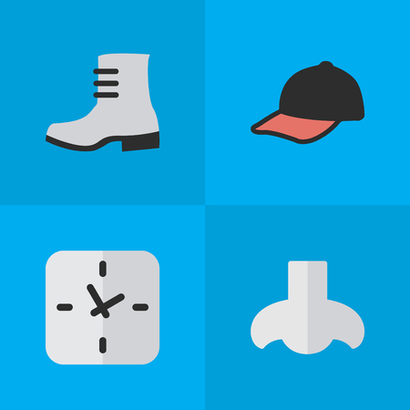 Illustration Set Of Simple Equipment Icons. Elements Time, Smell, Sport Hat And Other Synonyms Clock, Shoe And Hat. Illustration