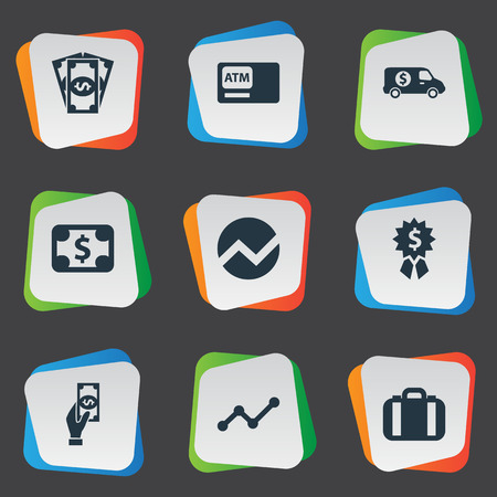 security monitor: Illustration Set Of Simple Bill Icons. Elements Banknote, Statistic, Portfolio And Other Synonyms Bill Illustration