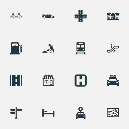 シンプルな都市のアイコンのイラスト セット。要素は、ワーカーを掘り、ガソリン スタンド、車および他の同義語ベッド、構築し、マップします。