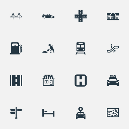 Illustration Set Of Simple Urban Icons. Elements Digging Worker, Petrol-Station, Car And Other Synonyms Bed, Building And Map.