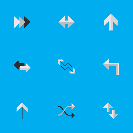 Vector Illustration Set Of Simple Pointer Icons. Elements Onward, Chaotically, Import And Other Synonyms Internet, Forward And Shuffle. Illustration
