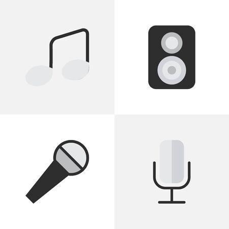 簡単なサウンドのアイコンのベクトル イラスト セット。他の同義語のマイク、マイク、音楽記号要素レコード サインとスピーカー。