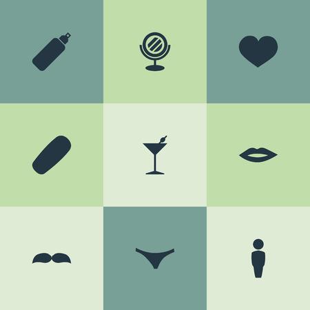 シンプルでエレガントなアイコンのベクター イラスト セット。要素の下着、カクテル、キス、他の同義語スプレー Umderwear とミラー。  イラスト・ベクター素材